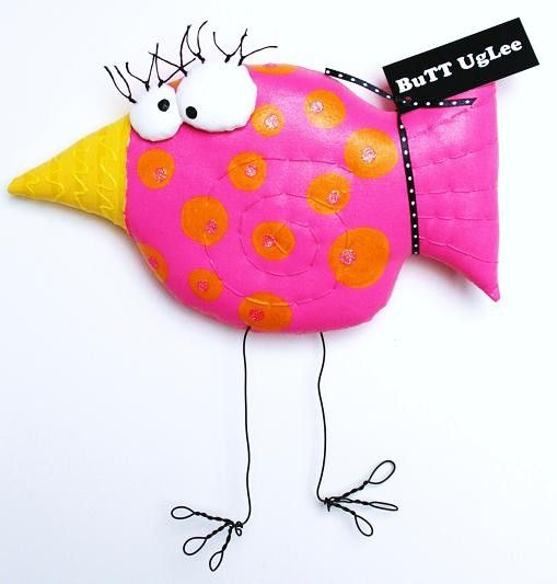 BirD PinK  With OranGe PolKa Dots NameD SweeT PeA by buttuglee