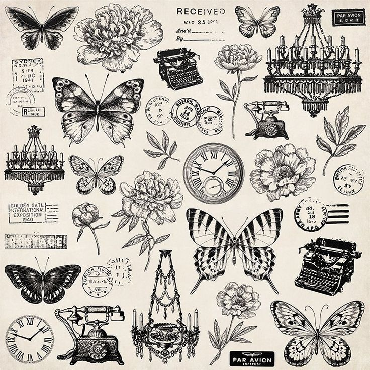 Kaisercraft – Pen and Ink Collection – 12 x 12 Paper with Foil Accents – Antiques