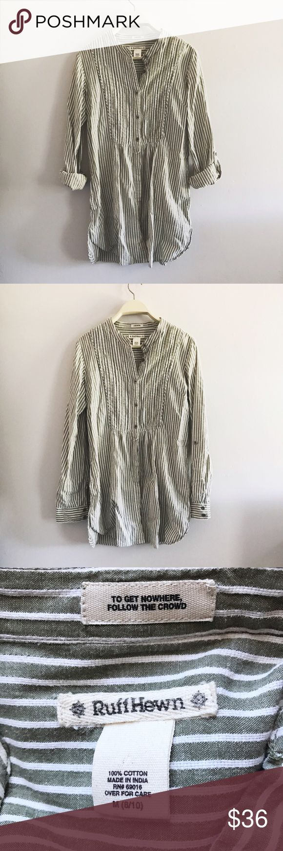 Ruff Hewn Cotton Linen Striped Tunic This Ruff Hewn cotton linen tunic features a gorgeous cream and earthy olive green striping pattern. It is in great condition and the sleeves can be worn rolled up or down. It is a size medium. Ruff Hewn Tops Tunics