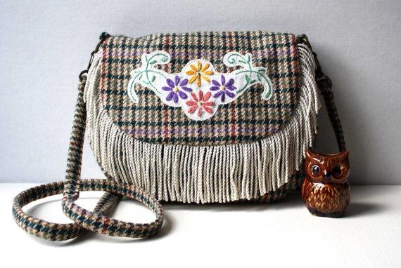 Mia check floral fringe across body bag by ObeliaDesign on Etsy, $135.00 Obelia handmade embroidery bohemian tassle hippie