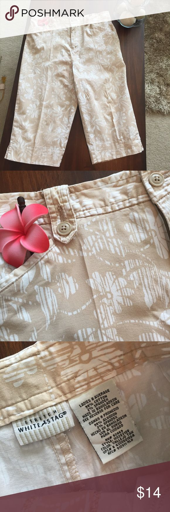 "White Stag Capris Very nice condition. Light, beige and white ""line-thru"" floral print is great for spring or summer outfits. White blouse and beige sandals ... out the door! White Stag Pants Capris"