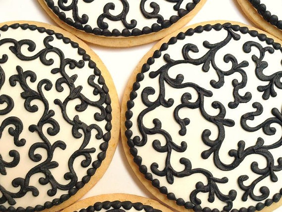 One Dozen Black and White Baroque Cookies - Orange Vanilla Spice Cookies. $72.00, via Etsy.: Vanilla Spices, Orange Vanilla, White Baroque, White Cookies, Black White Wedding, Baking Cookies, Cookies Decor, Black And White, Baroque Cookies