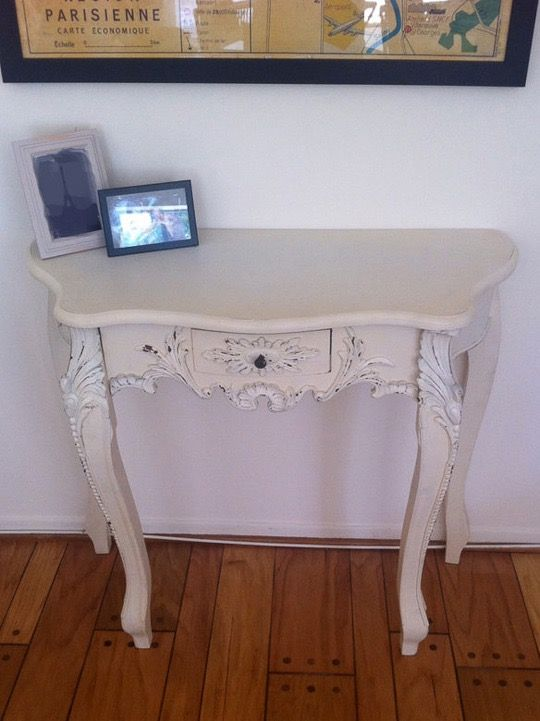 Enchanting Entries: Industrial Console, Demi Lune & Shabby Chic Table