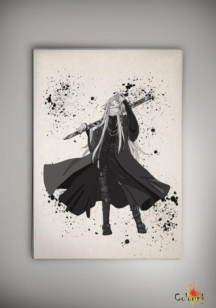 Black Butler Anime Manga Watercolor Print Poster Kuroshitsuji Ciel Phantomhive Sebastian Michaelis