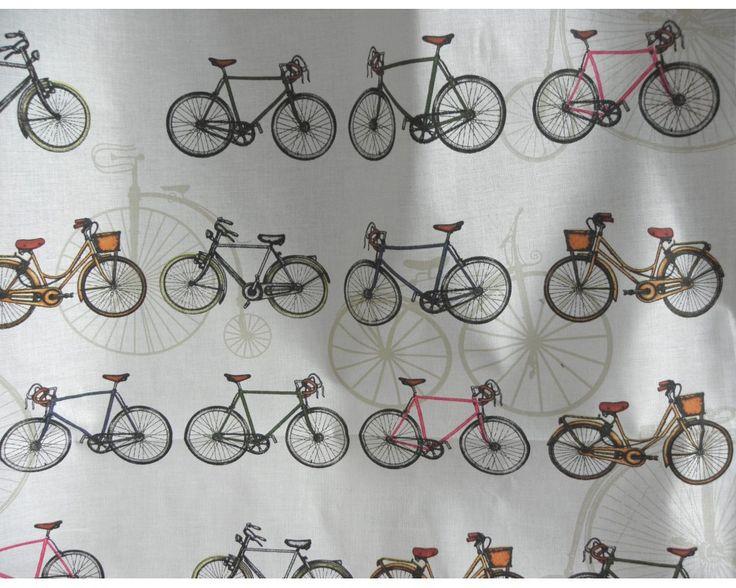 Bicikli mintás pamut vászon | Textilpont lakástextil Webáruház