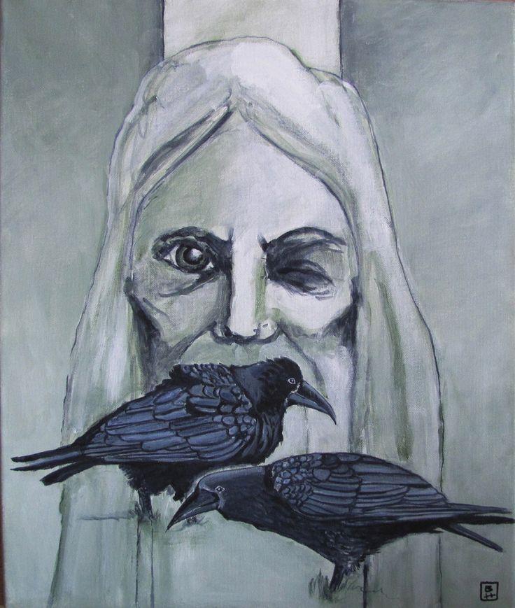 Bjarne Hansen titel: Odin akryl 50x60 cm.
