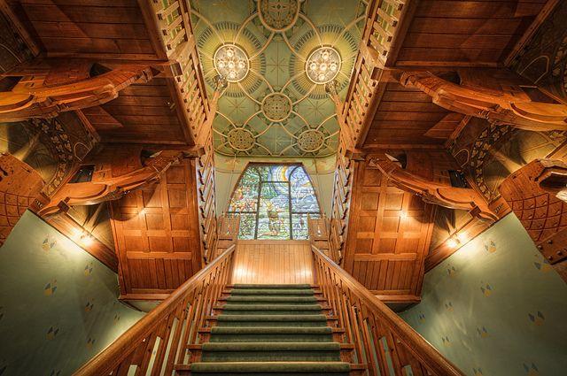 Impressive staircase of Jachtslot Mookerheide, Mook and Middelaar, Limburg, Netherlands.