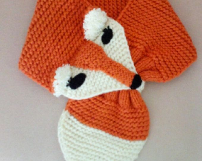 Adjustable Fox Scarf For KIDS  or Adult  Hand Knit FOX Scarf /