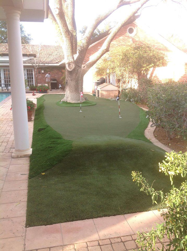 Golf greens can be customized to any size or shape to fit into any size or shaped yard. www.golfgreenstexas.com