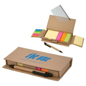 """475 Large Sticky Notepad Set-A lot of items are packed inside this cardboard box. Includes eco pen, removable PP ruler, one yellow 3"""" x 3"""" sticky pad (100 sheets), three 1"""" x 3"""" sticky note flags (100 sheets each) in neon colours, small neon PVC note flags in five colours"""