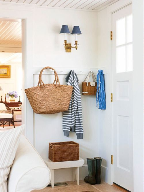 i'd copy it all - ceilng, sconces with blue shades, even the straw tote...