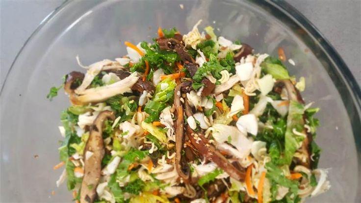 Chinese Chicken Salad with Roasted Portobello Mushrooms
