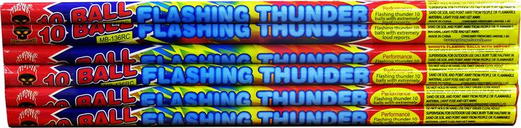 Flashing Thunder 10 Ball w/ Reports - North Central Industries - www.greatgrizzly.com - MUNCIE INDIANA WHOLESALE FIREWORKS •Category: Roman Candles •Item Number: 486 •Package Contents: 24-6 •Dimensions: 18 x 4 x 1 •Weight: 30lbs Brand Name: Megabanger  DESCRIPTION: 10 ball roman candle with Extremely loud reports!  Roman candles are not meant to be handheld.