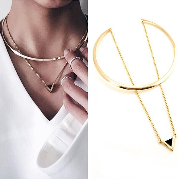 Enamel Triangle Pendants Necklace with Gold Choker
