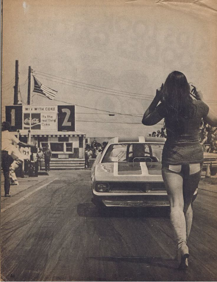 Drag Strip Girl-I remember my boyfriend drag racing for pink slips but I don't think I had that outfit.