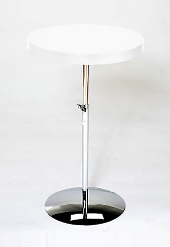 Adjustable Height White U0026 Chrome Accent Table   Raymond # Diameter: 17.75  In.