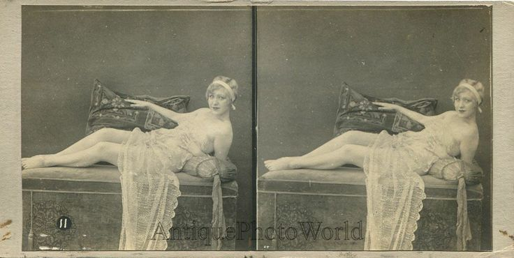 Sexy Semi Nude Blonde Woman with Drapery Antique Stereo View SV Photo | eBay