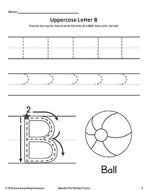 uppercase letter b pre writing practice worksheet fine motor skills tracing writing. Black Bedroom Furniture Sets. Home Design Ideas