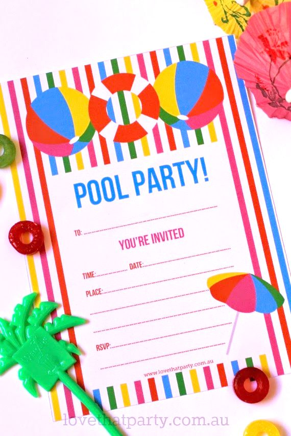 free printable summer pool party invitation