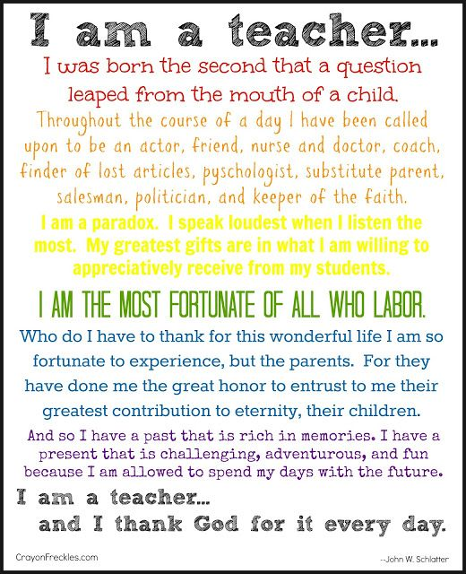 crayonfreckles: I Am a Teacher {free printable} >>> To go into their BOOK or binder of keepsakes with class pics that they receive at assembly.