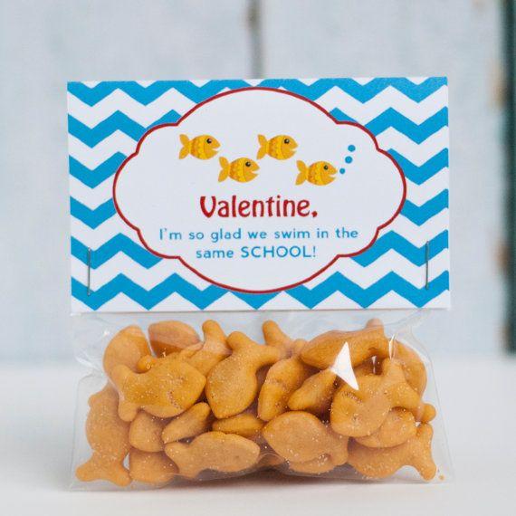 Custom Printable Goldfish Valentine Treat Bag Topper