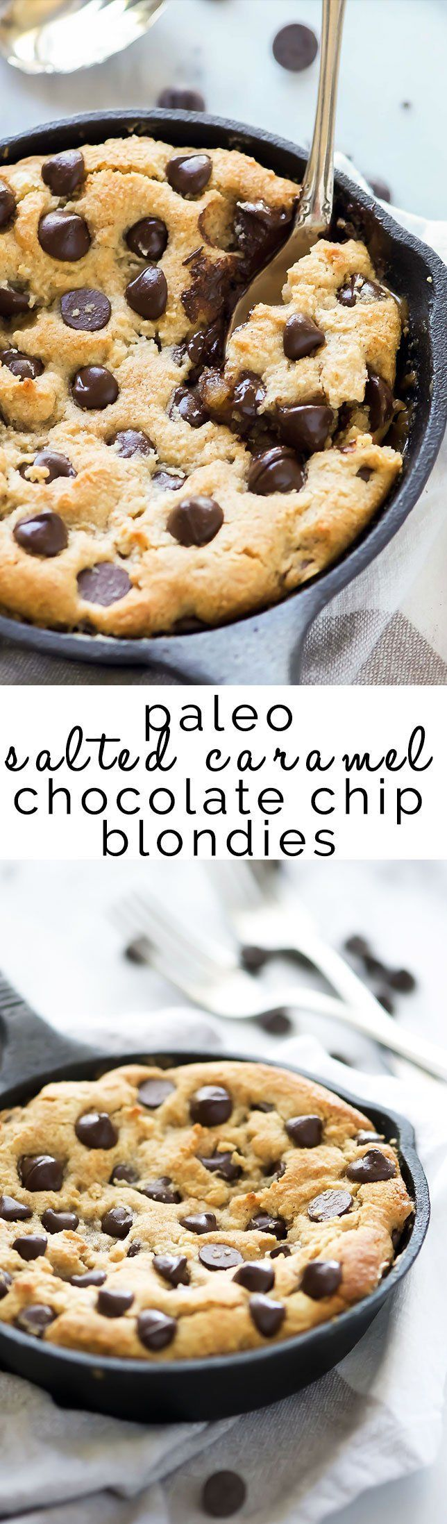 Paleo Salted Caramel Chocolate Chip Blondies | Easy, Best, Fudgy, Flourless, Recipe, Dairy Free, Healthy,