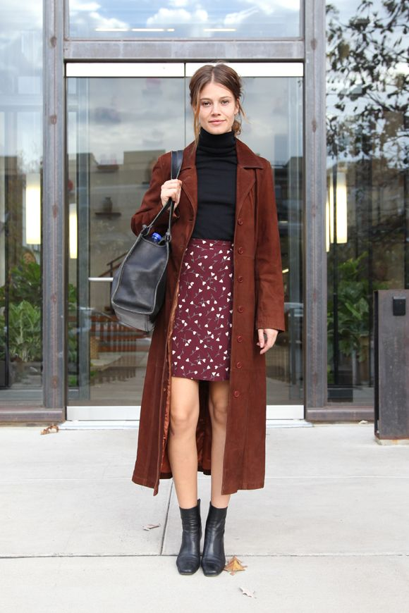 Free People Models Off Duty. Brown and bordeaux work just great together http://dresslikeaparisian.com/how-to-match-colors/