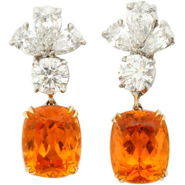 Finest Mandarin Garnet Diamond Platinum Earrings ($45,930) ❤ liked on Polyvore featuring jewelry, earrings, platinum jewelry, orange earrings, diamond earring jewelry, garnet jewellery and earrings jewelry