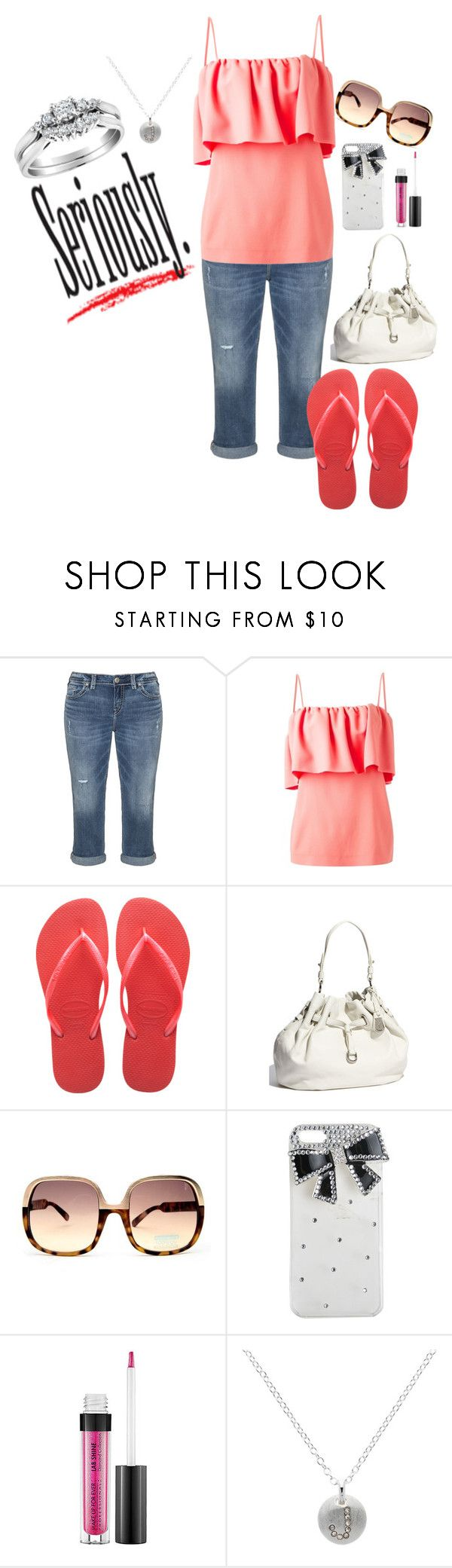 """""""Seriously."""" by not-your-southern-bell ❤ liked on Polyvore featuring Silver Jeans Co., MSGM, Havaianas, Cole Haan, Wet Seal, MAKE UP FOR EVER and Melissa Odabash"""