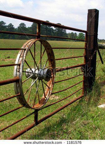 western metal gate wagon wheel - Google Search