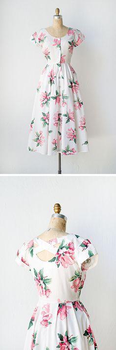 vintage 1950s style floral dress | Magnolia Blushing Dress