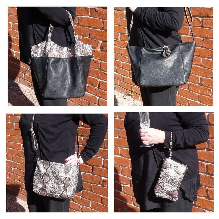 Black & Snakeskin Set of 3 Bags. Shopping/Tote bag, messenger bag/bag insert, makeup bag/evening purse.