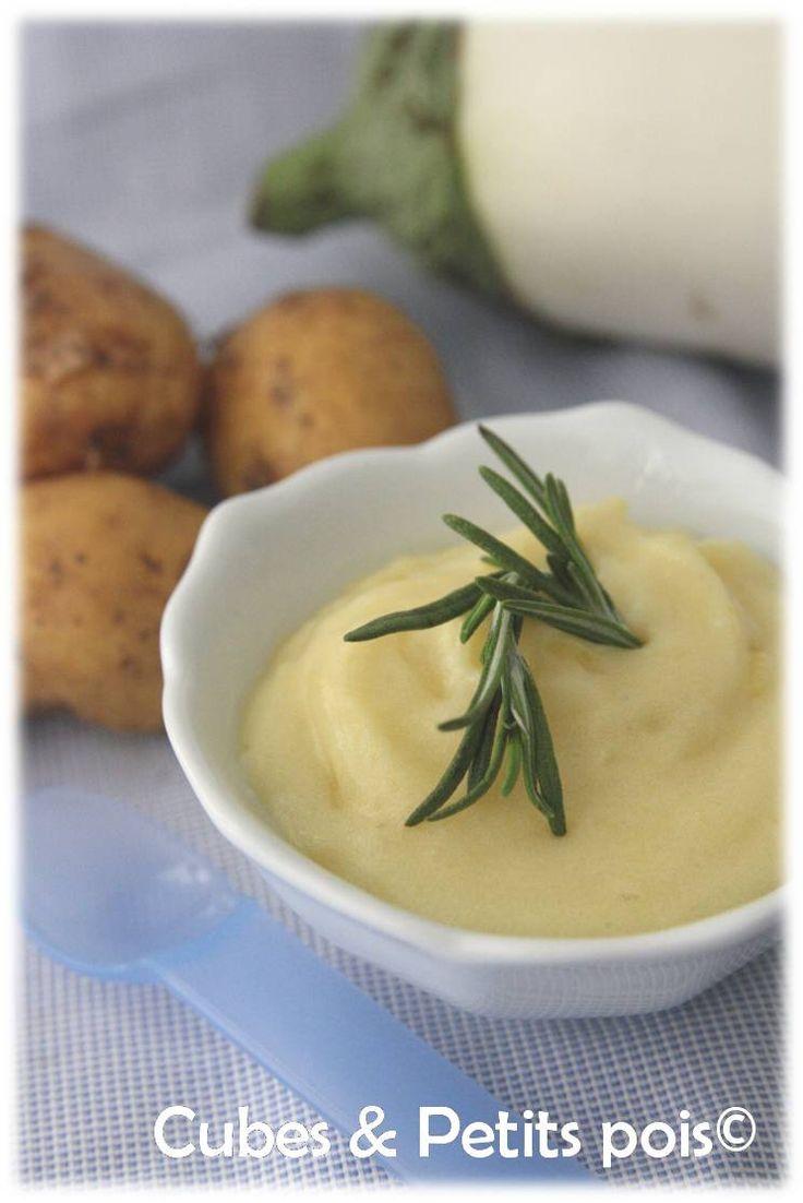 Une douce recette pour bébé avec cette purée d'aubergine blanche au romarin (Dès 8 mois).