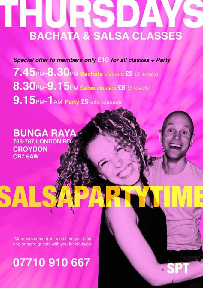 We're OPEN TONIGHT, Thurs 22nd Dec 7.45pm-1am @ Bunga Raya Bar & Restaurant, 785 London Road CR7 6AW. Come on down and join us for A Great Night Out. Everyone is welcome. No partner required. Bachata classes @ 7.45pm with Tym Fuego, Richard Voogt, Dave Nokku. Salsa lessons @ 8.30pm with Joe Blaq, Tym Fuego, Richard Voogt, Richard Dean Voogt, Richard D Voogt. Then it's PartyTime-1am to the sounds of our DJs playing the very best tunes in Salsa, Bachata & Kizomba.