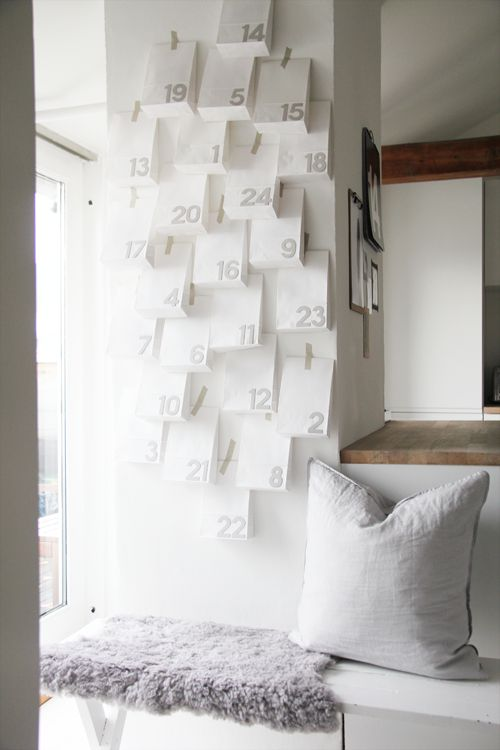 Advent on the wall-This would be a good idea for our family with older daughters-one might include Starbucks gift card for a peppermint/hot chocolate drink, one might be subs... Could even do one to send away to our college daughter?