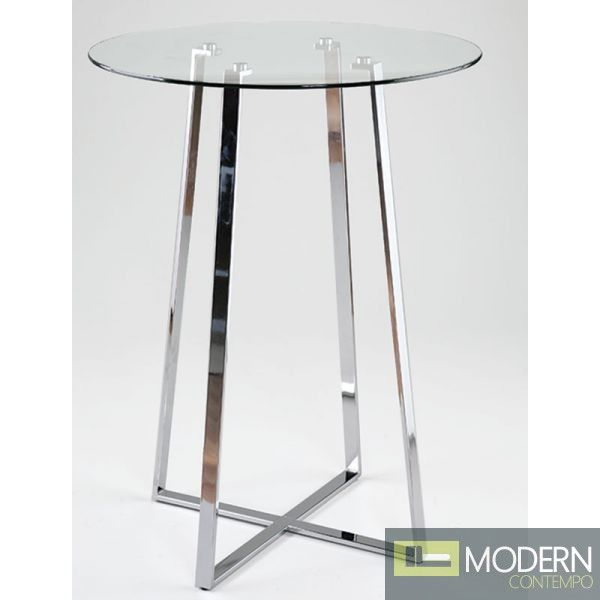 This Bar Table Has A Round Glass Top And Beautiful Chrome Legs. Http:/