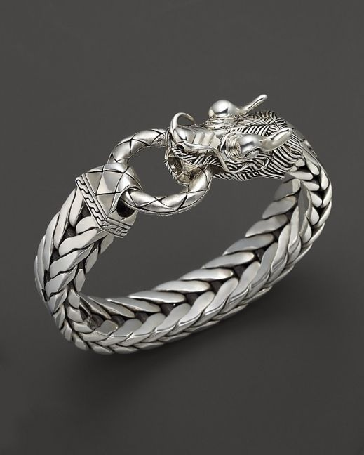 John Hardy Mens Naga Silver Dragon Head Bracelet on Fishtail Chai Like & Repin. Noelito Flow. Noel http://www.instagram.com/noelitoflow