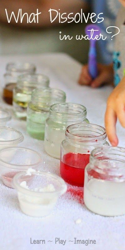 Set up a simple science experiment for kids to learn about what dissolves in water and what doesn't.