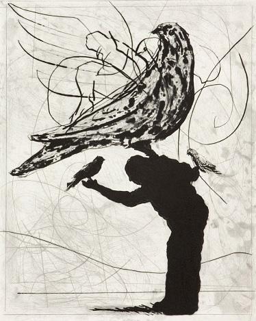 William Kentridge (1955)  The Magic Flute: Man and Bird ('mixed technique')