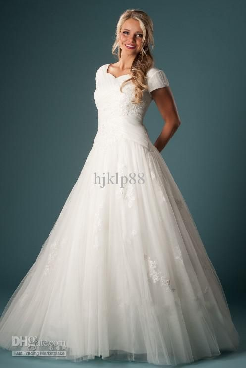 Wholesale modest wedding dresses buy short sleeve solemn for Cheap modest wedding dresses with sleeves
