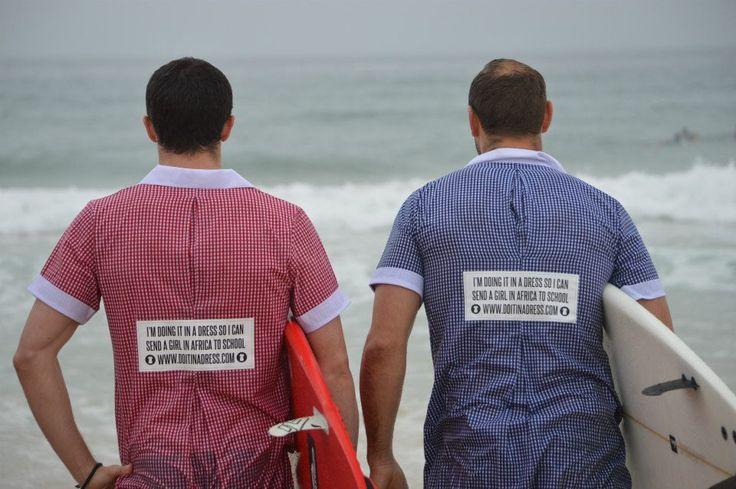 Greg Beazley and Si Muddell #SurfersInADress at Bondi Beach, October 2012 :: One Girl #DoItInADress