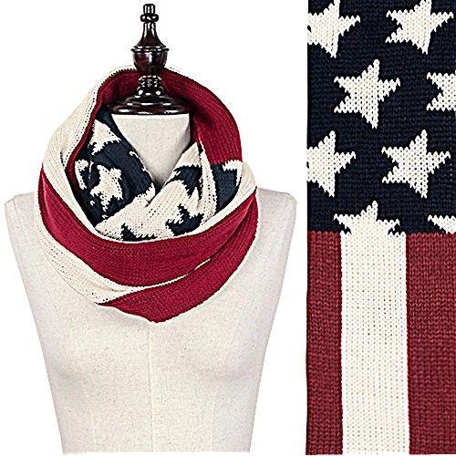 Patriotic Americana Vintage Flag Print Infinity Loop Scarf, Women's