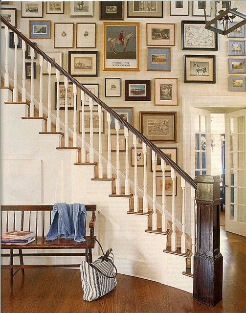 pictures up stairs are cool - bench in front of stairs