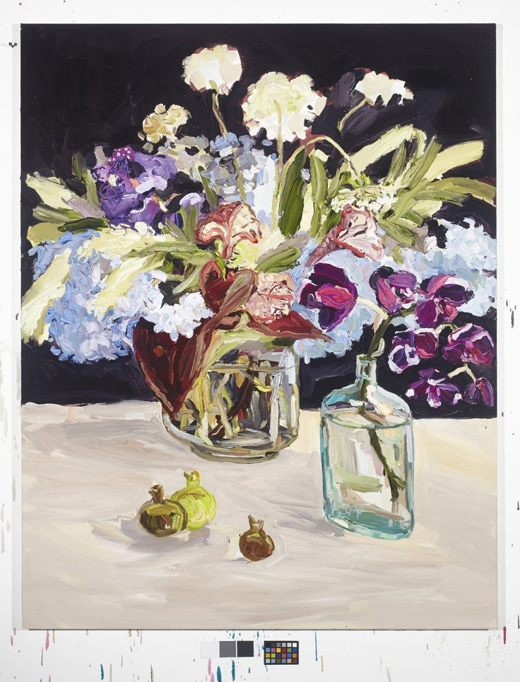 Laura Jones   Australia  b. Sydney 1982 Grevillea and Hydrangea still life 2015 oil on linen 142 x 112cm Private Collection  Laura Jones celebrates the Australian wildflower. While knowingly engaging with the lineage of still life, her paintings are contemporary renditions of the genre.