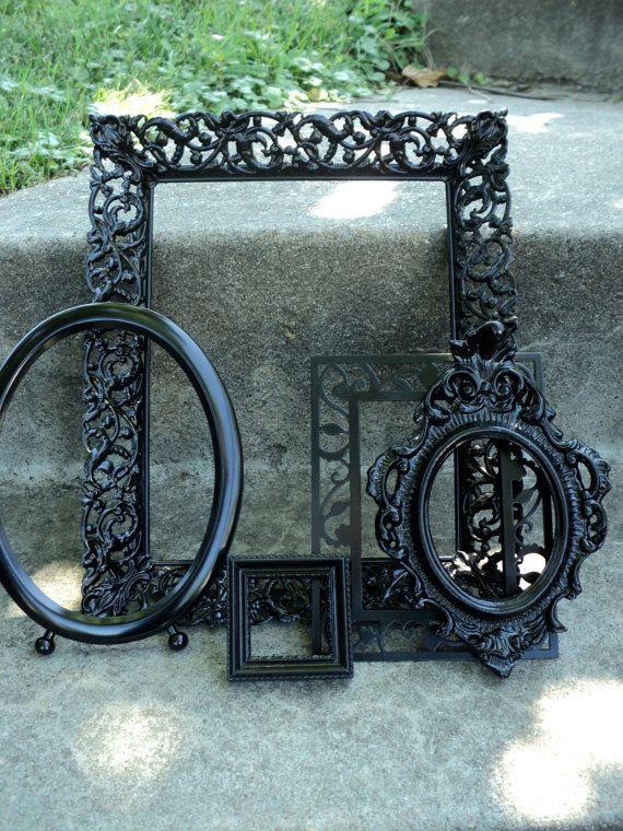 Vintage Black Picture Frame Set