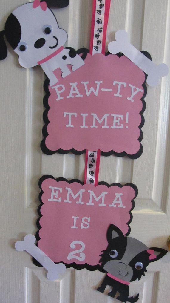 Puppy Party Door Sign by DreamComeTrueParties on Etsy, $18.00