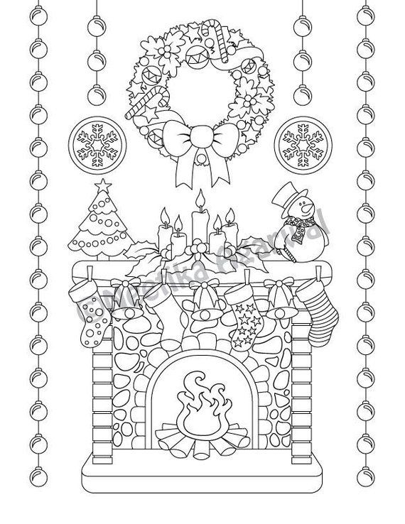 Christmas Pictures To Color For Adults.Christmas Mantel Christmas Scene Adult Coloring Page