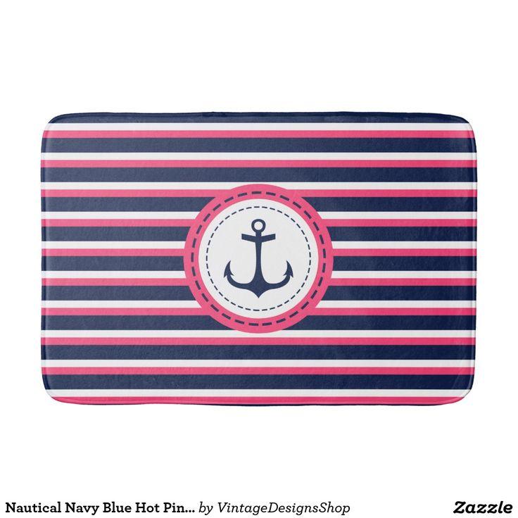 Nautical Navy Blue Hot Pink Stripes Anchor Design Bathroom Mat