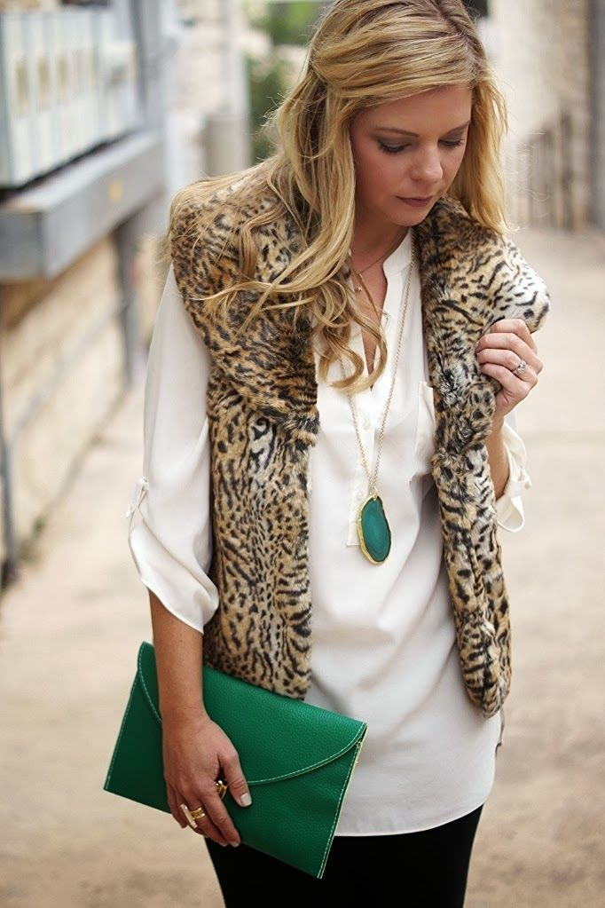 Drapey blouse + Leopard Fur vest + touch of emerald