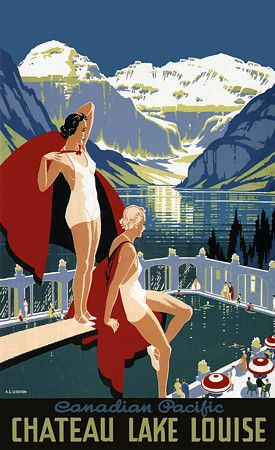 Lake Louise Canada 1930s Vintage Art Deco Travel Posters Prints